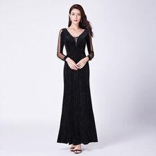 Ever-Pretty Long-Sleeve Homecoming Dress V Neck Glitter Formal Evening  Black