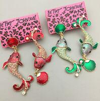 Women's Red/Green Enamel Crystal Fish Shell Betsey Johnson Dangle Drop Earrings