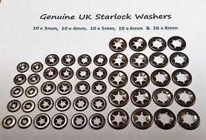 Starlock Washers Assorted Grab Lock Retainer Clips Kit  10X3,4,5,6&8MM 50PCE