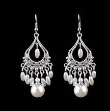 Beautiful Stylish Silver & White Pearl Design Drop Dangle Earrings