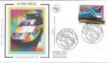 2002 - ENVELOPPE 1er JOUR FDC SOIE - N° 3475 - TRANSPORTS - TGV