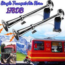 2x 178DB Single Trumpet Air Horn Compressor Train Car Truck Boat Chrome Vehicle