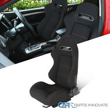 New listing Driver Left Side Black Cloth Red Stitch Reclinable Sport Racing Seat w/ Sliders(Fits: Golf)