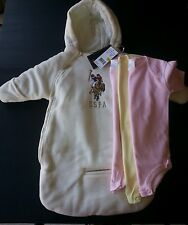 4pc US POLO ASSN SNOW SUIT COAT WINTER CREAM BABY 0-9 M 3 Suit boys girls NWT