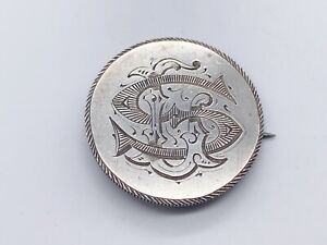 ANTIQUE 1916 HALF CROWN SWEETHEART COIN SOLID STERLING SILVER LADIES PIN BROOCH