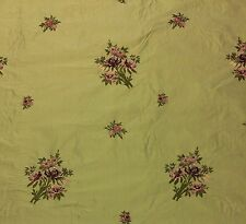 "MOUNT VERNON LADY WASHINGTON BOTANICAL GREEN SILK EMBROIDERED FABRIC BTY 53""W"