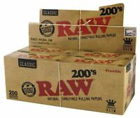 RAW Classic Natural Unrefined Rolling Papers Raw 200's Full Box 40 per box