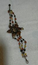 Gorgeus Vintage 1950's Copper and Amber Bead Bracelet with Bejewelled Flower