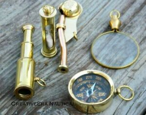 Handmade Vintage Brass Nautical Pocket Key Chain Set of 5 Pieces Key Ring Gifts