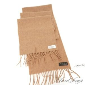 Moon Made in The British Isles 100% CASHMERE Mocha Brown Flannel Fringed Scarf