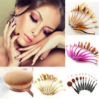 10 Set Oval Powder Cream Makeup Brushes Toothbrush Eyebrow Foundation Brushes
