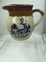 Brown Pottery Pitcher Deer in Forest George Briard MC Mid-Century Modern Marked