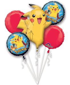 Pokemon Balloon Bouquet ~Pokemon Pikachu 5 Foil Balloons Birthday Party Supplies