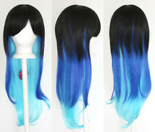 28'' Long Straight Layered Fade Black to Blue Cosplay Wig
