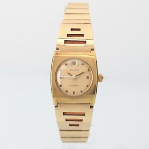 1971 Vintage Women's Gold Tone Automatic Date Watch w/ Original Bracelet Awesome