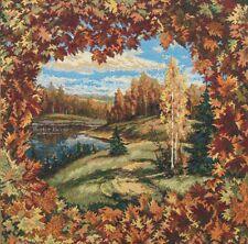 "20"" DECORATIVE TAPESTRY PILLOW COVER Autumn Landscape EUROPEAN CUSHION ACCENT"