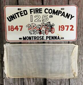 NOS Vintage United Fire Company 125th Year Celebratory License Plate Topper Penn