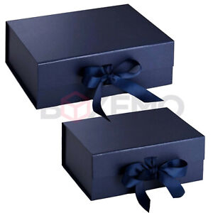 Navy Gift Box With Ribbon - Two Sizes - Magnetic Box - Large Gift Box - Blue Box