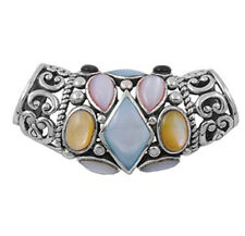 Bali Slide Pendant Simulated Mother of Pearl .925 Sterling Silver Swirl Charm
