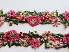 "Floral Embroidered Border Ribbon Lace Trim for Sewing/Crafts/Bridal/2.5"" Wide"