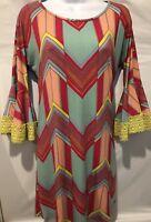 JUDITH MARCH Dress Boho Colorful Bell Pom Pom Lace Geometric Women's Sz Small