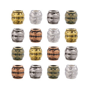 100pcs Tibetan Carved Barrel Metal European Beads Large Hole Spacers Charms 8mm
