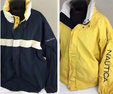 Vintage NAUTICA Jacket Sailing REVERSIBLE Hooded Colorblock Spell Out Men 4XL
