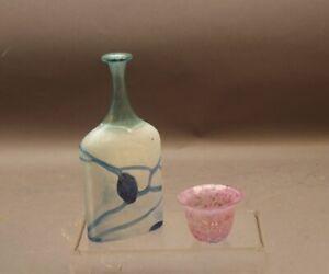 2 x Kosta Boda Schweden Design Glas  Flaschenhalsvase und kleines Schälchen