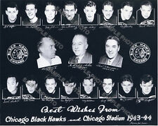1943-44 CHICAGO BLACKHAWKS 8X10 TEAM PHOTO HOFs BENTLEY SMITH MOSIENKO SEIBERT