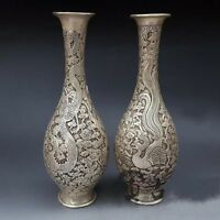 China Pure Silver Carved Beautifully Dragon Phoenix Vase Sculpture Statue A Pair
