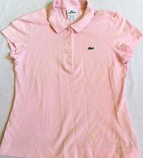 Lacoste Women's Pink Cap Sleeve Polo Golf Tennis Sport Size 40 Large L