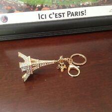 Fashion Crystal Rhinestone Eiffel Tower Shaped Pendant Gold Key Chains Ring