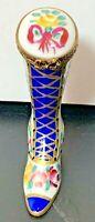 Limoges France Peint Main Fancy Boot Figure Floral Design Porcelain Trinket Box