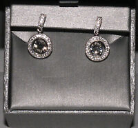 Zales 5.5mm Lab-Created White Sapphire Frame Sterling Silver Drop Earrings **