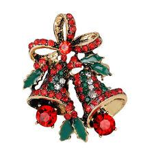 Fashion Christmas Rhinestone Cute Christmas Bell Brooch Pin Xmas Gift Party Rr