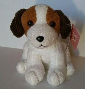 """Russ Luv Pets Roxy Plush Puppy Dog 6"""" Chamois White Brown Soft Stuffed Toy"""