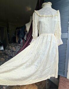 Vintage 1980's Dress, Edwardian, Satin, Lace, High Neck, Size 6-8, Ivory