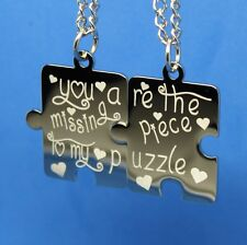 PERSONALIZED PUZZLE PIECE SPLIT NECKLACE ENGRAVE BACK FOR FREE