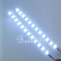 "2x Cool White 12 LEDs 30cm/11.8""5050 SMD LED  12V DIY Car Strip Light Waterproof"