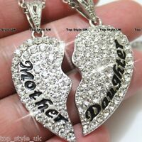 #P4372 D for Diamond Gold Plated Mother daughter Heart pendant