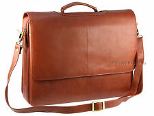"XL Business Briefcase 15"" Laptop Messenger Bag Visconti Soft Leather Brown 658"