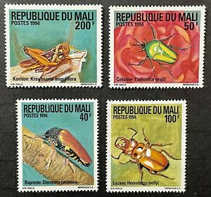 MALI INSECTS STAMPS SET 4V 1994 MNH WILDLIFE BUG BEETLE GRASSHOPPER FAUNA INSECT