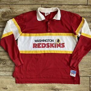 Vintage Nutmeg NFL Washington Redskins Jersey Style Polo Shirt Mens Sz XL