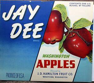 Jay Dee Wenatchee Washington Vintage Apple Label Original Fruit Crate Label