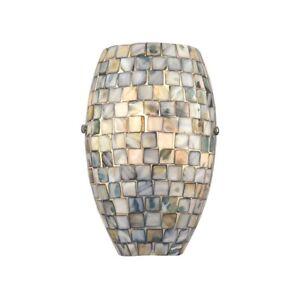 Elk Lighting Capri 1-Light Sconce, Glass/Gray Capiz Shells, Nickel - 10550-1