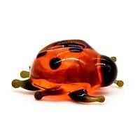 "Tiny 1/2"" Glass Ladybug Beetle Figurine, Handmade Hand Blown Art Glass Figure"