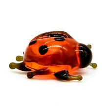Hand Blown Art Glass Ladybug Figurine, Handmade Insect Animal Miniature Figure