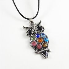 45cm Colorful Rhinestone Crystal Owl Charm Necklace Pendant Jewellery Gift