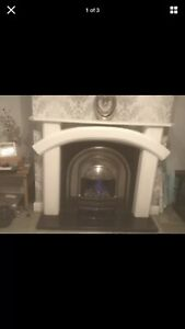 Plaster Fire Surround With cast Iron Back And Gas Fire And Black Marble Hearth