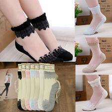 Women Invisible Transparent Lace Floral Design Elastic Short Socks Stockings